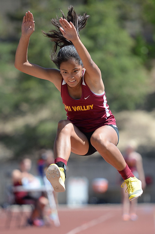 . Long jump action during the Marmonte League track and field finals May 9, 2014 in Moorpark.(Andy Holzman/Los Angeles Daily News)