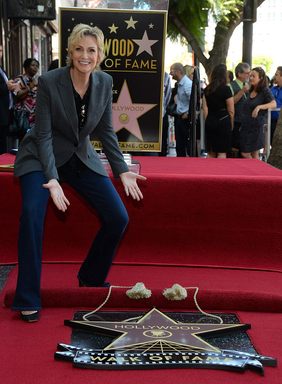 . HOLLYWOOD, CA - SEPTEMBER 04:  Actress Jane Lynch is honored with the 2,505th star on the Hollywood Walk of Fame in the category of television on September 4, 2013 in Hollywood, California.  (Photo by Mark Davis/Getty Images)