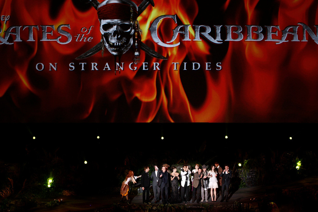 ". From left, Jerry Bruckheimer, Rob Marshall, Geoffrey Rush, Penélope Cruz, Johnny Depp, Ian McShane, Keith Richards, Astrid Bergès-Frisbey, and Sam Claflin arrive at the World Premiere of ""Pirates of the Caribbean: On Stranger Tides\"" at Disneyland in Anaheim, Calif., on Saturday, May 7, 2011. (AP Photo/Matt Sayles)"