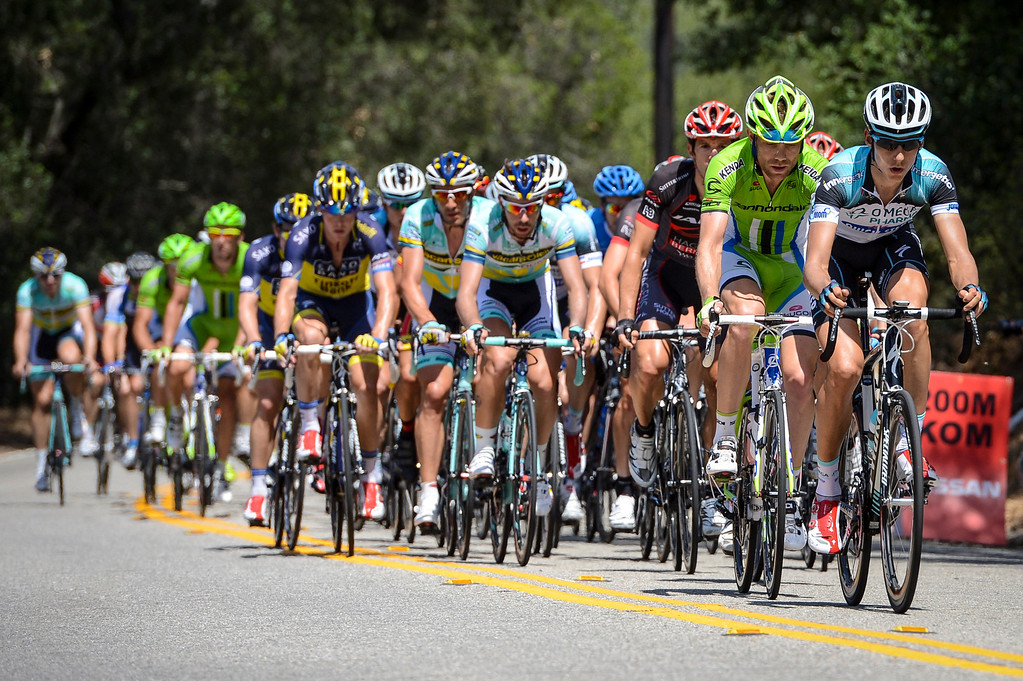 . The peleton gives chase to a 6 man breakaway up the first king of the mountain climb of the stage on highway 150 into the Ojai Valley Wednesday.  Stage 4 of the Amgen Tour of California started in Santa Clarita and ended in Santa Barbara.  Photo by David Crane/Staff Photographer