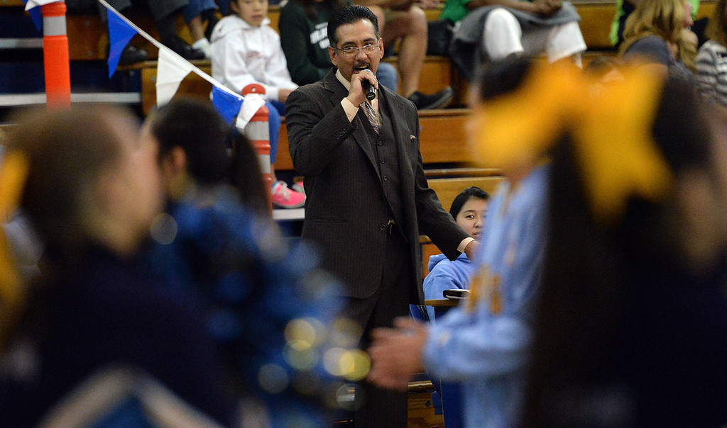 . Announcer Anthony Lopez prior to a prep basketball game between Bonita and Walnut at Walnut High School in Walnut, Calif., on Wednesday, Jan. 15, 2014. Bonita won 60-50. (Keith Birmingham Pasadena Star-News)