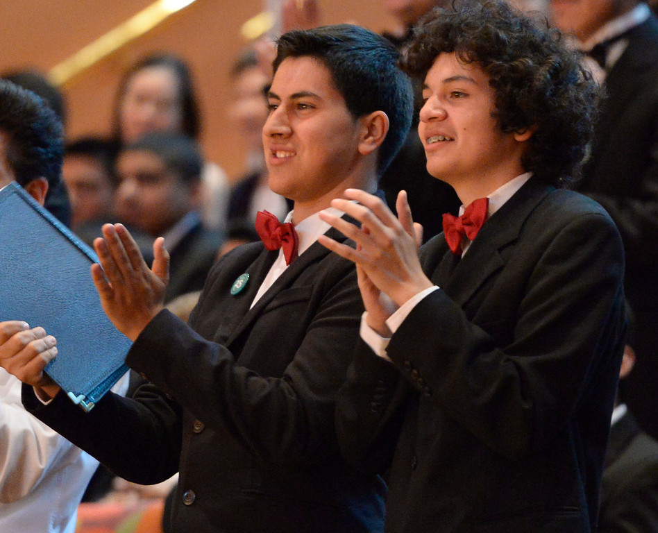 . Students from Taft H.S. applaud their choir director. 1,000 students from 28 southland High Schools performed in the Los Angeles Master Chorale High School Choir Festival at the Walt Disney Concert Hall. Directed by Grant Gershon, the choir filled the hall with music from every angle. Los Angeles, CA. 5/2/2014(Photo by John McCoy / Los Angeles Daily News)