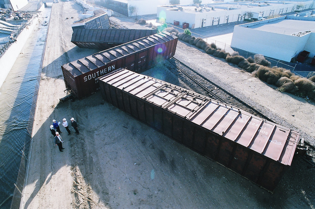 . Rolling stock is strewn about the Southern Pacific tracks after the quake caused this derailment in Northridge.   Los Angeles Daily News file photo