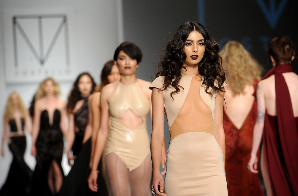 . Models walk the runway at the Andre Soriano fashion show during L.A. Fashion Week March 10, 2014 in Los Angeles, CA.(Andy Holzman/Los Angeles Daily News)