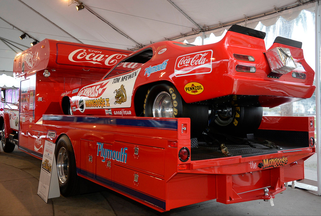 ". The famous 1967 Dodge D-700 hot wheels ""Mongoose\"" ramp truck on display as it will go on the auction block in Jan 2014 at the famous Barrett-Jackson car auction in AZ, during first media day during the LA auto show, as the show will open to the public this Friday.  Nov 20,2013. Photo by Gene Blevins/LA Daily News"