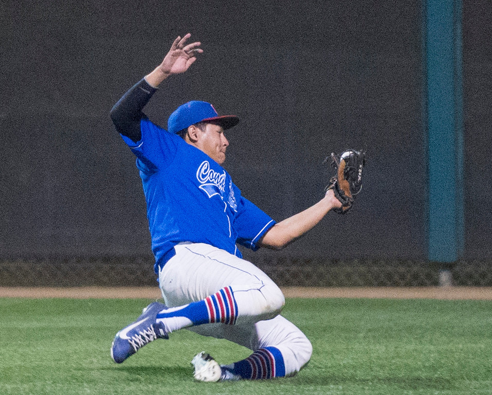 . Los Altos right fielder Joey Franco makes a sliding foul ball catch for the out in the fifth inning during the 18th annual San Gabriel Valley High School All-star Baseball game at Mt. SAC\'s Mazmanian Field June 3, 2013.   (SGVN staff photo by Leo Jarzomb)