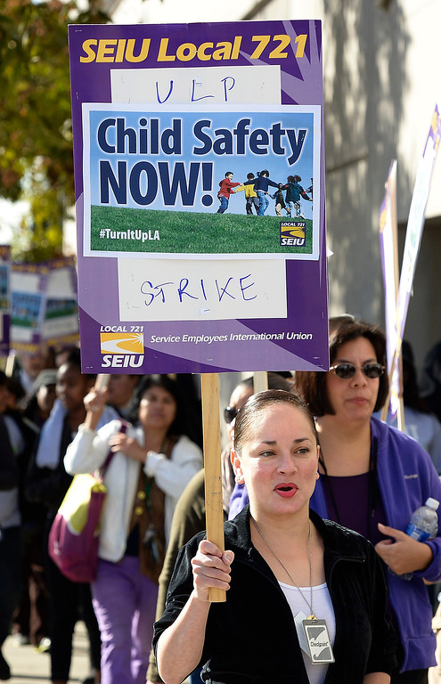 . Striking Los Angeles County Social Workers held a picket line outside the Dept. of Children and Family Services Metro North Office. Los Angeles, CA. 12/5/2013, photo by (John McCoy/Los Angeles Daily News)