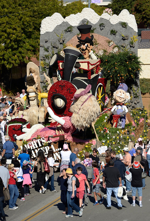 . View of the float built by Burbank Tournament of Roses Association. The 125th Rose Parade\'s Showcase of Floats was staged on Sierra Madre Boulevard between Washington Boulevard and Sierra Madre Villa Avenue, and Washington Boulevard between Sierra Madre Boulevard and Woodlyn Road.  Pasadena, CA January 1, 2014.(John McCoy/Los Angeles Daily News)