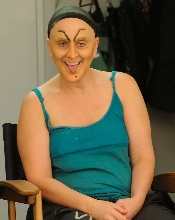 . Eyebrows are next for Miss Gulch, the woman who later becomes the Witch. Jacquelyn Piro Donovan is transformed into the Wicked Witch by makeup artist Michael King. The Wizard of Oz is being staged at the Pantages Theatre in Hollywood, CA. 9/25/2013. photo by (John McCoy/Los Angeles Daily News)