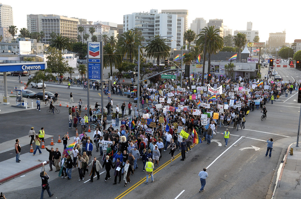 . LONG BEACH, CALIF. -- Marchers leave the corner of Broadway and Alamitos Ave. headed a mile east to Bixby Park in Long Beach, Calif. on May 27, 2009. The protesters are upset that the California Supreme Court upheld Proposition 8 banning gay marriage.     Photo by Jeff Gritchen/Long Beach Press-Telegram