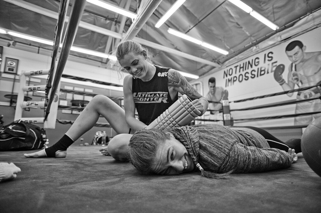 . Marina Shafir has her shoulder worked on by Jessamyn Duke after training at Glendale Fighting Club in Glendale. (Photo by Hans Gutknecht/Los Angeles Daily News)