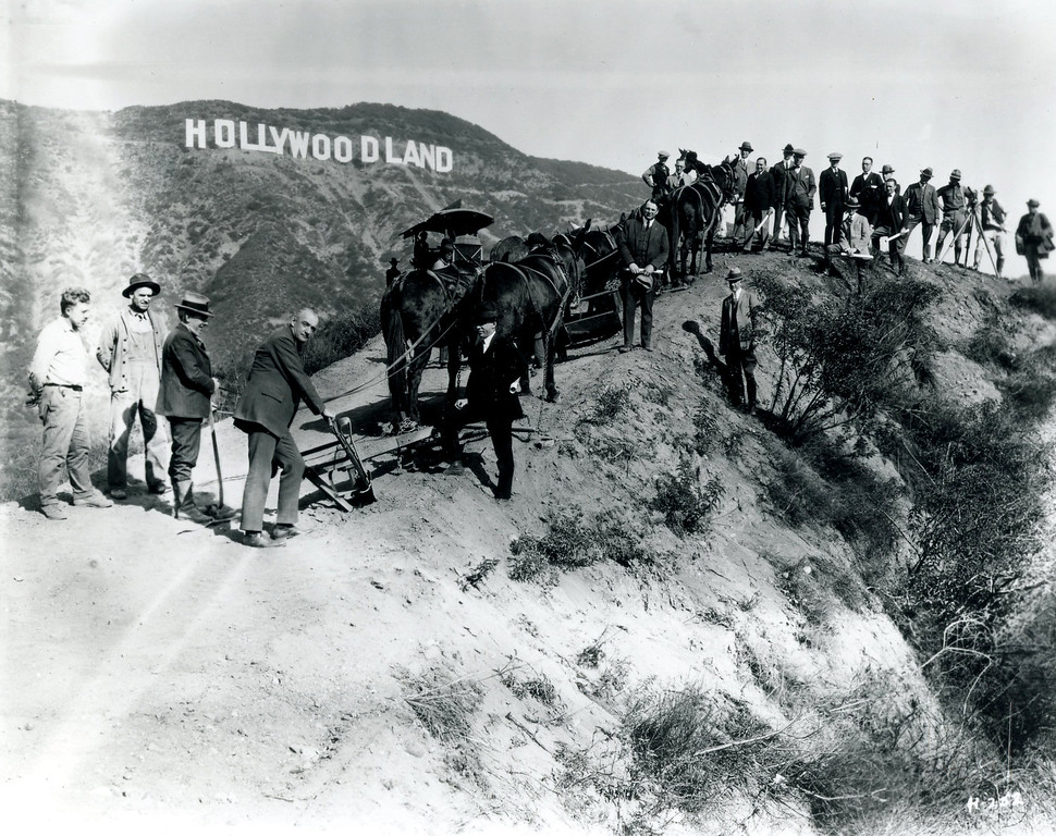 . Hollywood, which by now represented not just a city, but also an industry, a lifestyle and, increasingly, an aspiration, was officially crowned when the �Hollywoodland� sign was erected in 1923. (Copyright Bruce Torrence Hollywood Photograph Collection/Hollywood Sign Trust)