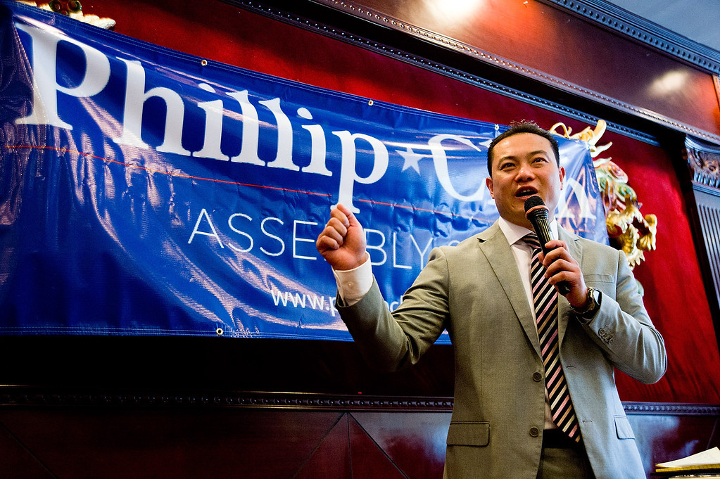 . Phillip Chen announces his run for 55th State Assembly District at Seafood Village Restaurant in Rowland Heights on Thursday, July 8, 2013. The Walnut Valley school board member is running in the 55th Assembly district currently represented by Assemblyman Curt Hagman, who is not running for reelection due to term limits. (SGVN/Staff photo by Watchara Phomicinda)