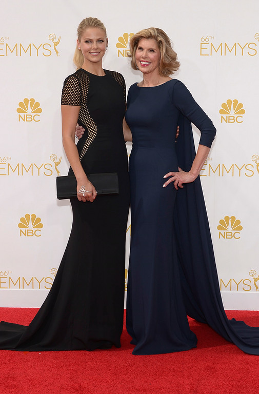 . Lily Cowles and actress Christine Baranski on the red carpet at the 66th Primetime Emmy Awards show at the Nokia Theatre in Los Angeles, California on Monday August 25, 2014. (Photo by John McCoy / Los Angeles Daily News)