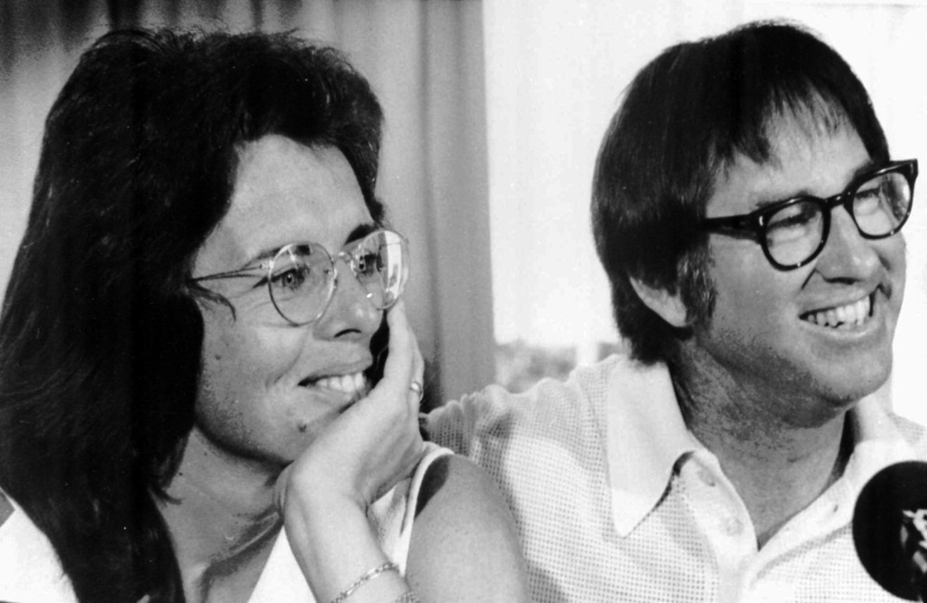 . Billie Jean King and Bobby Riggs smile during a news conference in New York to publicize their upcoming match at the Houston Astrodome, July 11, 1973.  (AP Photo)