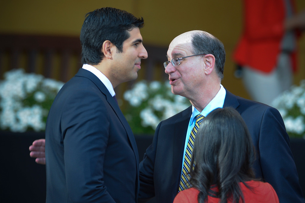 . Matt Dababneh, state assembly 45th district and Congressman Brad Sherman wait for President Barack Obama to speak at DreamWorks studios in Glendale Tuesday, November 26, 2013.  In the speech Obama talked about jobs and Obamacare.  (Photo by David Crane/Los Angeles Daily News.)