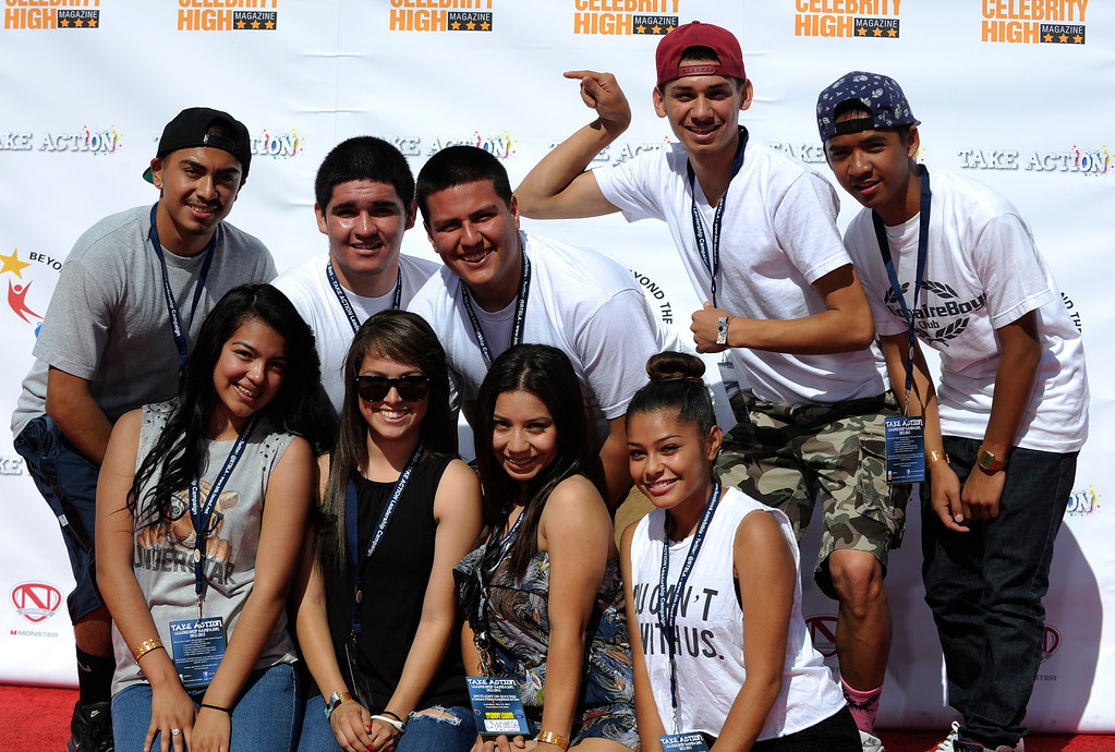 """. Kids pose on the red carpet. LAUSD\'s program \""""Beyond The Bell,\"""" held a talent show and competition on the Paramount Studios Lot. Stages were set among streets replicating New York City, where kids from 49 Junior High and High Schools danced, sang, played instruments and gave spoken work performances to compete for more than $40,000 in scholarships. Hollywood , CA 5/11/2013(John McCoy/LA Daily News)"""