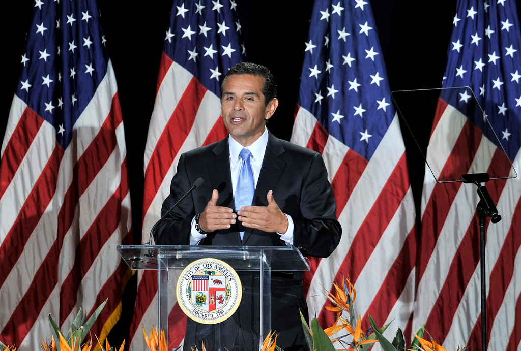 . Mayor Antonio Villaraigosa during his State of the City Address at Thomas Jefferson High School in Los Angeles, CA 4-13-2011. (John McCoy/L.A. Daily News)