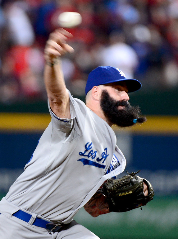 . Los Angeles Dodgers\' Brian Wilson pitches the ninth in game 2 of the playoffs Thursday, October 4, 2013 at Turner Field in Atlanta, Georgia. Braves defeated Dodgers 4-3. (Photo by Sarah Reingewirtz/Pasadena Star- News)