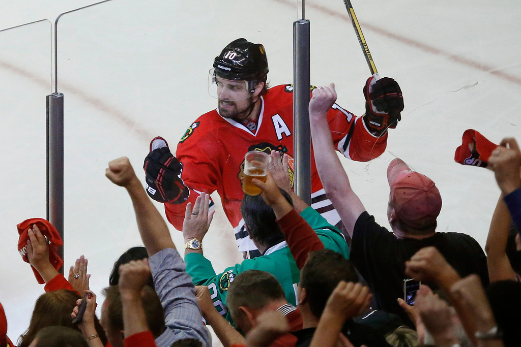. Chicago Blackhawks center Patrick Sharp (10) reacts after scoring a goal against the Los Angeles Kings during the second period in Game 1 of the NHL hockey Stanley Cup Western Conference finals Saturday, June 1, 2013 in Chicago. (AP Photo/Charles Rex Arbogast)