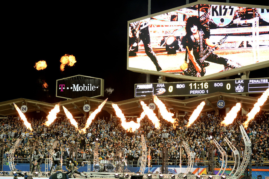 . KISS performs prior to the inaugural NHL Stadium Series game between the Anaheim Ducks and the Los Angeles Kings at Dodger Stadium in Los Angeles on Saturday, Jan. 25, 2014. (Keith Birmingham Pasadena Star-News)