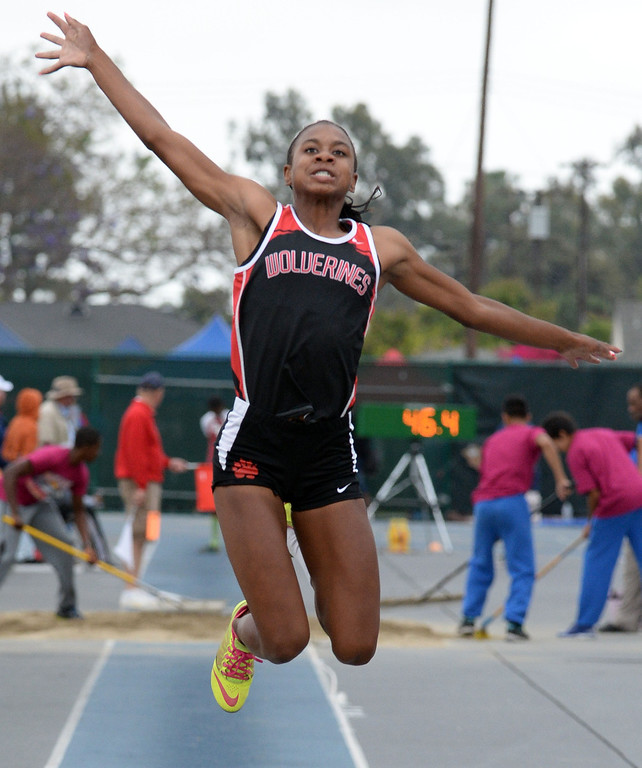 . Harvard Westlake\'s Courtney Corrin competes in the Division 3 long jump during the CIF Southern Section track and final Championships at Cerritos College in Norwalk, Calif., Saturday, May 24, 2014. 