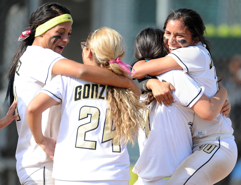 . Northview celebrates with teammates after defeating Barstow 5-4 during a CIF-SS quarterfinal playoff softball game at Northview High School on Thursday, May 23, 2013 in Covina, Calif.  (Keith Birmingham Pasadena Star-News)