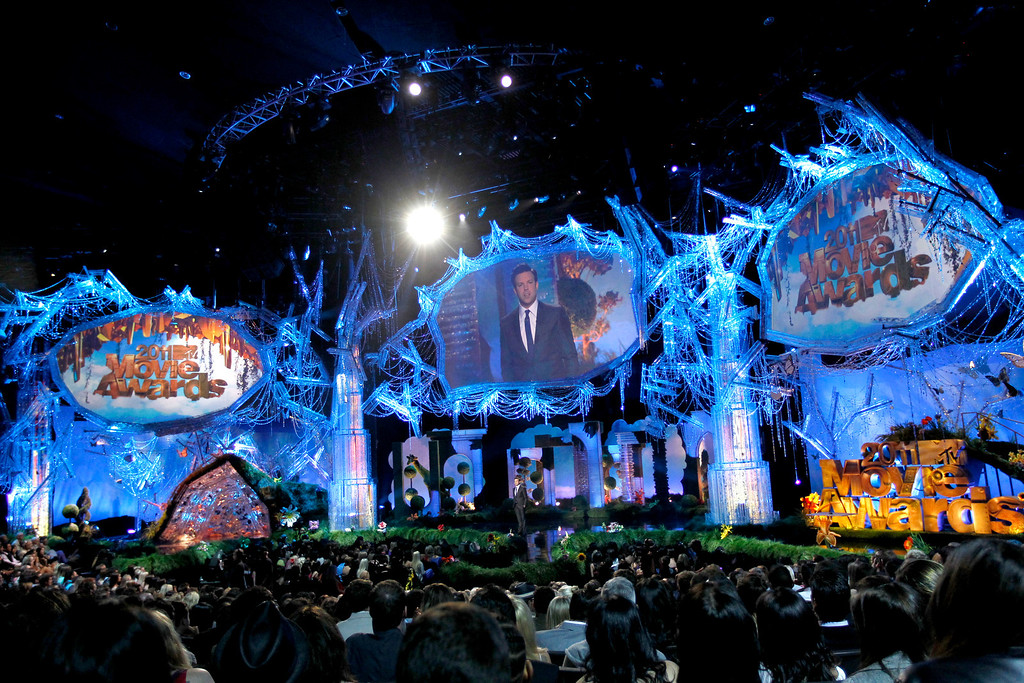 . Jason Sudeikis is seen on stage at the MTV Movie Awards on Sunday, June 5, 2011, in Los Angeles. (AP Photo/Matt Sayles)