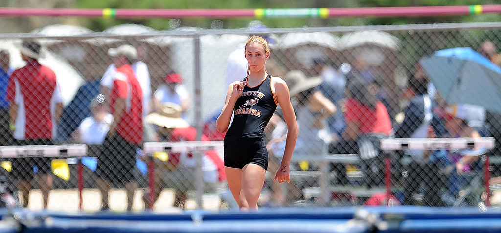 """. South Pasadena\'s Claire Kieffer-Wright wins the high jump with a jump at 5\'11\"""" during the CIF-SS track & Field championship finals in Hilmer Stadium on the campus of Mt. San Antonio College on Saturday, May 18, 2013 in Walnut, Calif.  (Keith Birmingham Pasadena Star-News)"""