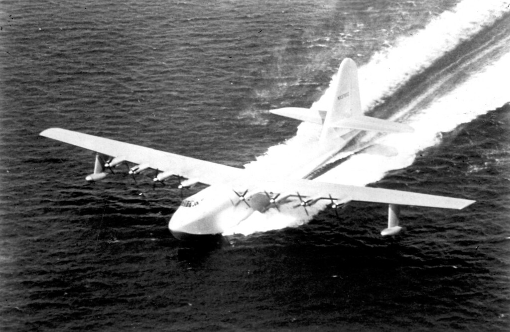 """. The historic Hughes Flying Boat, affectionately call the \""""Spruce Goose,\"""" took its one-and-only flight on Nov. 2, 1947.   Los Angeles Daily News file photo"""