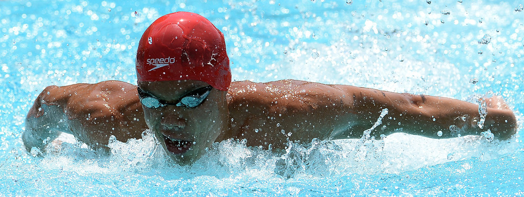. Mark Keppel\'s Justin Chiu competes in the 100 yard butterfly during the Division 2 CIF Southern Section Swimming Championships in the Riverside Aquatics Complex at Riverside City College in Riverside, Calif., on Saturday, May 17, 2014.
