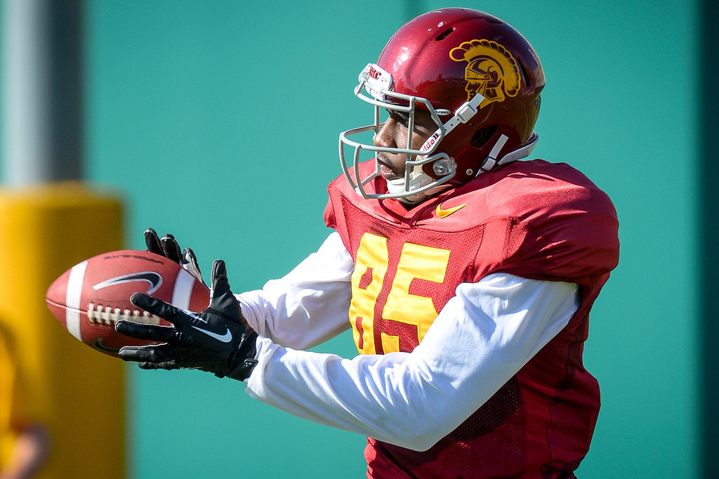 . USC�s Victor Blackwell during spring practice at USC Tuesday, April 15, 2014.  (Photo by David Crane/Los Angeles Daily News.)