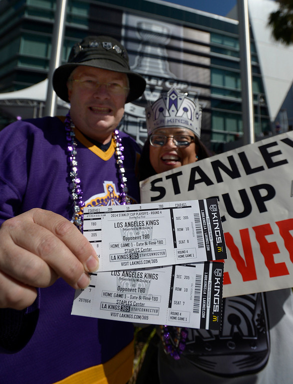 . Karl and Patty Hamm came from Camarillo for the game. Fans enter Staples Center before the Los Angeles Kings faced the New York Rangers in game 1 of the Stanley Cup Finals. Los Angeles, CA. 6/4/2014(Photo by John McCoy / Los Angeles Daily News)