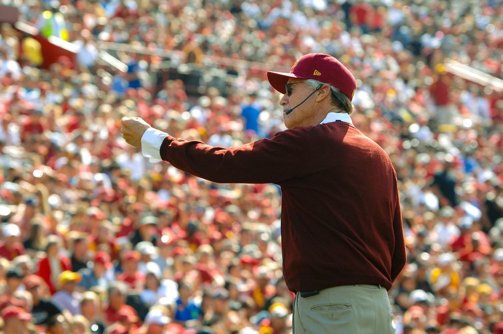 . Art Bartner, directs the USC Marching Band before a large crowd at the spring game, Saturday, April 19, 2014, at the Coliseum. (Photo by Michael Owen Baker/L.A. Daily News)