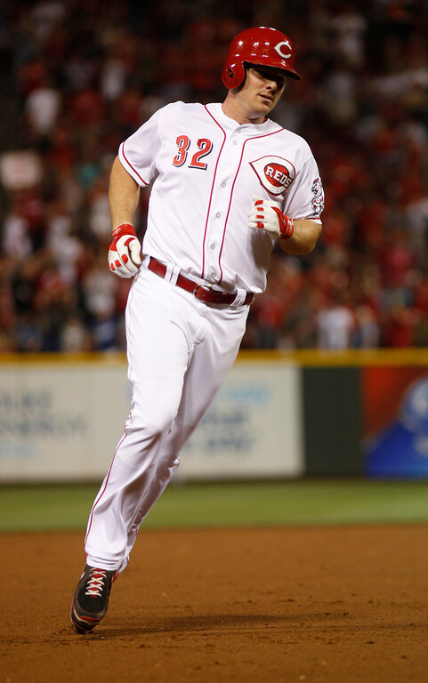. Cincinnati Reds\' Jay Bruce irounds the bases after hitting a solo home run against the Los Angeles Dodgers during a baseball game, Sunday, Sept. 8, 2013, in Cincinnati. (AP Photo/David Kohl)