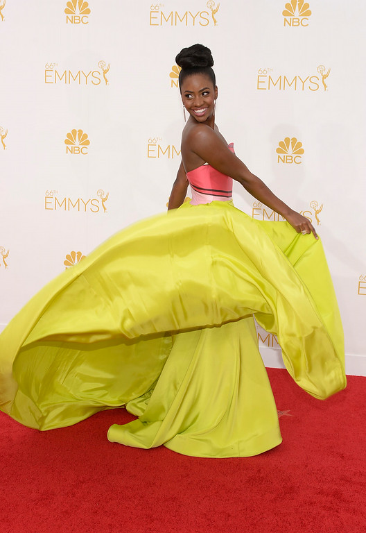 . Actress Teyonah Parris on the red carpet at the 66th Primetime Emmy Awards show at the Nokia Theatre in Los Angeles, California on Monday August 25, 2014. (Photo by John McCoy / Los Angeles Daily News)