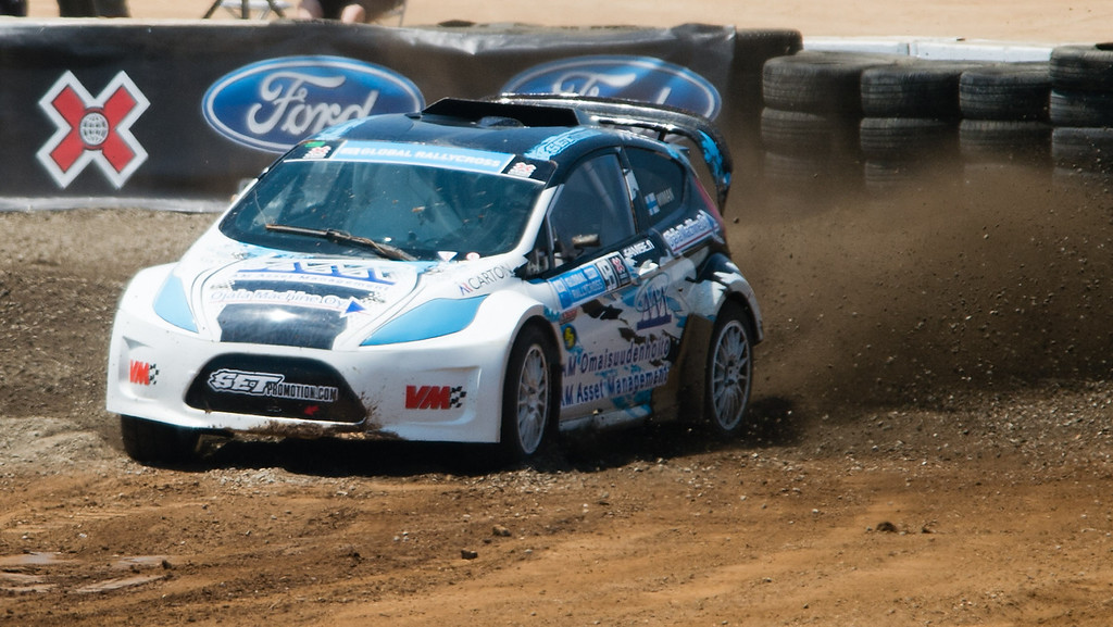 . Joni Wiman (#93) competes in the Ford RallyCross Lites final round during X Games Los Angeles at Irwindale Event Center on Sunday, August 4, 2013. Wiman won gold.  (SGVN/Staff photo by Watchara Phomicinda)