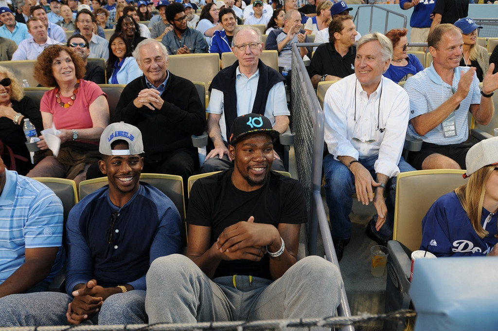 . NBA players Chris Paul and Kevin Durant attend a game between the Los Angeles Dodgers and the New York Yankees on July 30, 2013 at Dodger Stadium in Los Angeles,Caifornia. (Photo by Jill Weisledero/Los Angeles Dodgers via Getty Images)