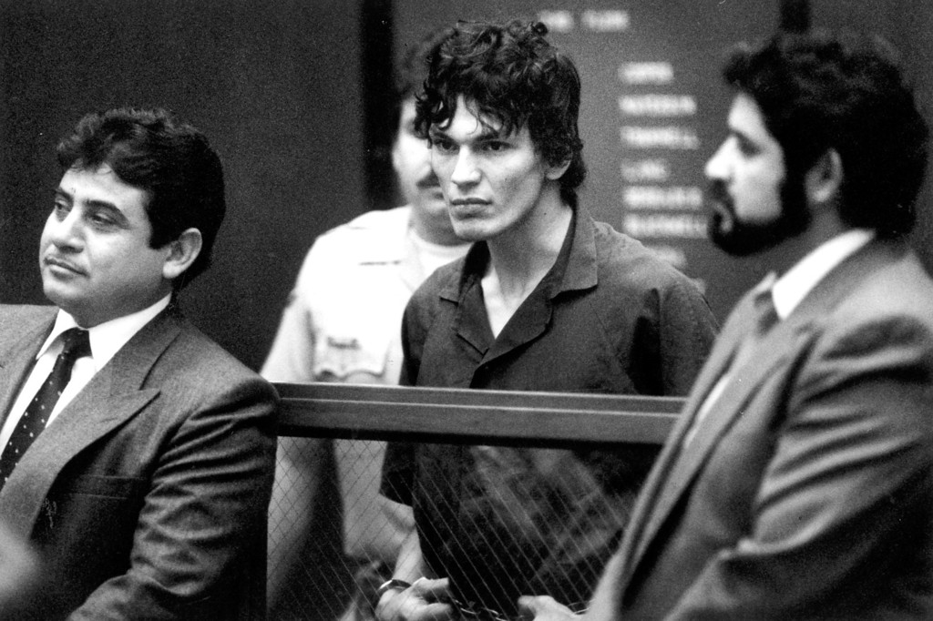 . Richard Ramirez, center,  asked to have Daniel Hernandez, left, and Arturo Hernandez, right, appointed as his attorneys in the Night Stalker case.  (Daily News file photo)