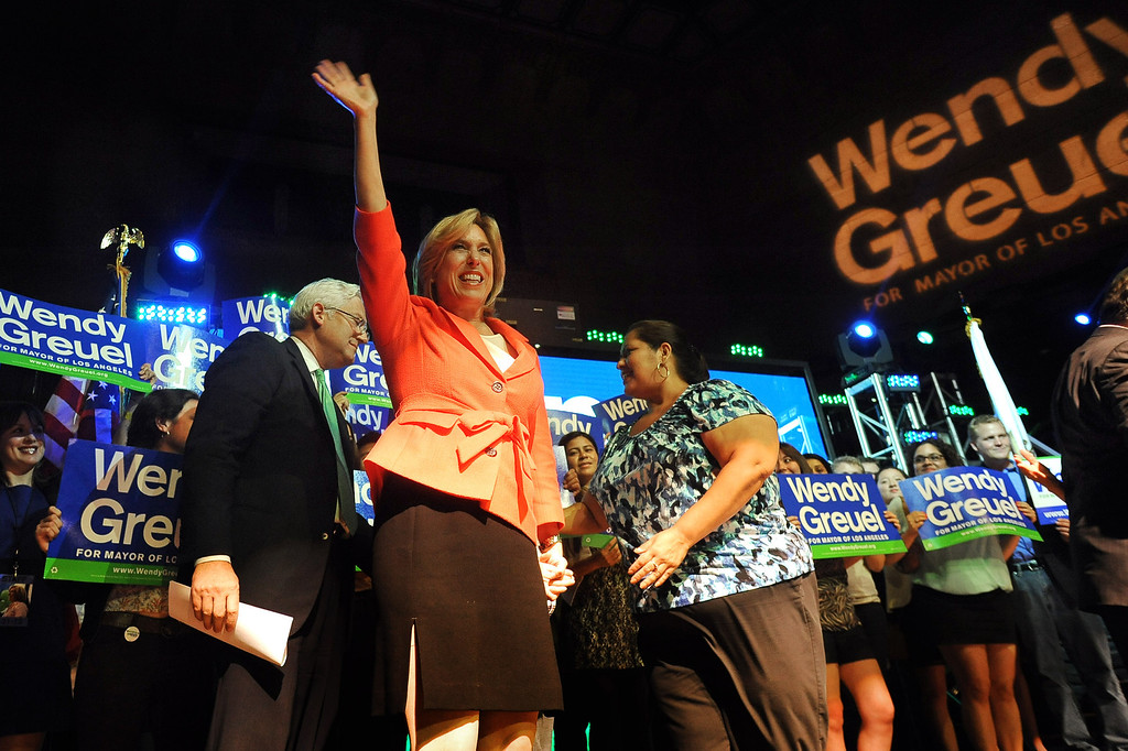 . Mayoral candidate Wendy Greuel takes the stage during her election night party at the Exchange in Los Angeles, CA May 21, 2013.(Andy Holzman/Staff Photographer)