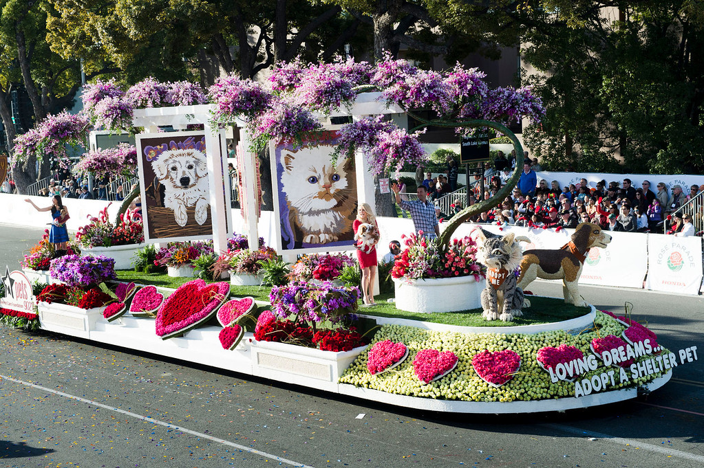 ". Beverly Hills Pet Care Foundation ""Loving Dream...Adopt a Shelter Pet\"" float during 2014 Rose Parade in Pasadena, Calif. on January 1, 2014. (Staff photo by Leo Jarzomb/ Pasadena Star-News)"