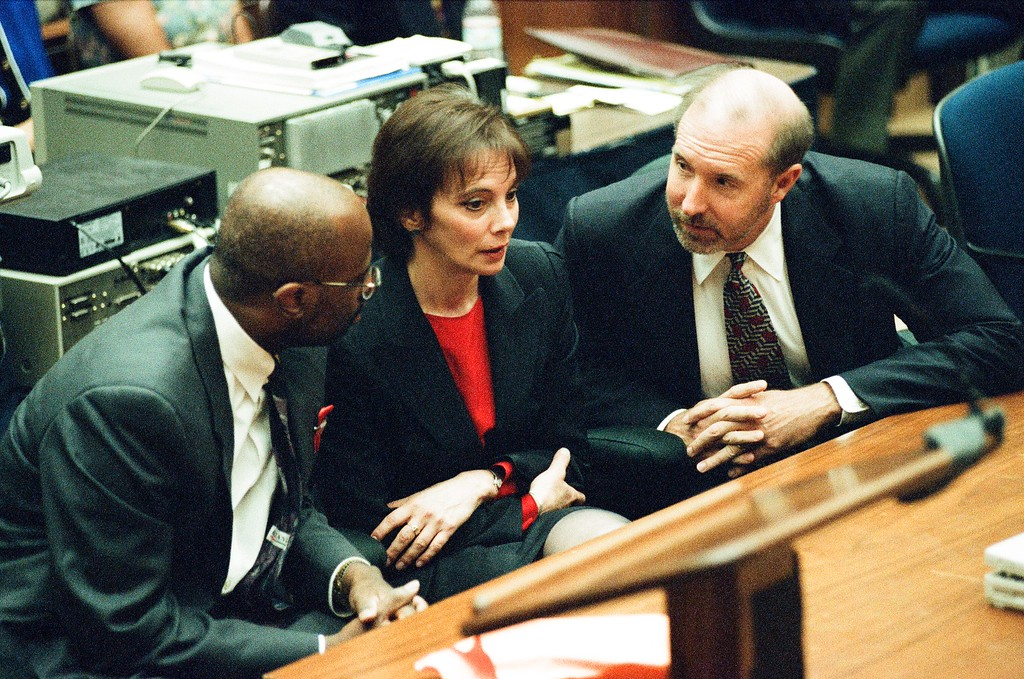. This Oct. 3, 1995 file photo shows the prosecutors of the O.J. Simpson trial. Simpson was found not guilty of murdering his ex-wife Nicole Brown Simpson and her friend Ron Goldman at the Criminal Courts Building in Los Angeles. (Los Angeles Daily News file photo)