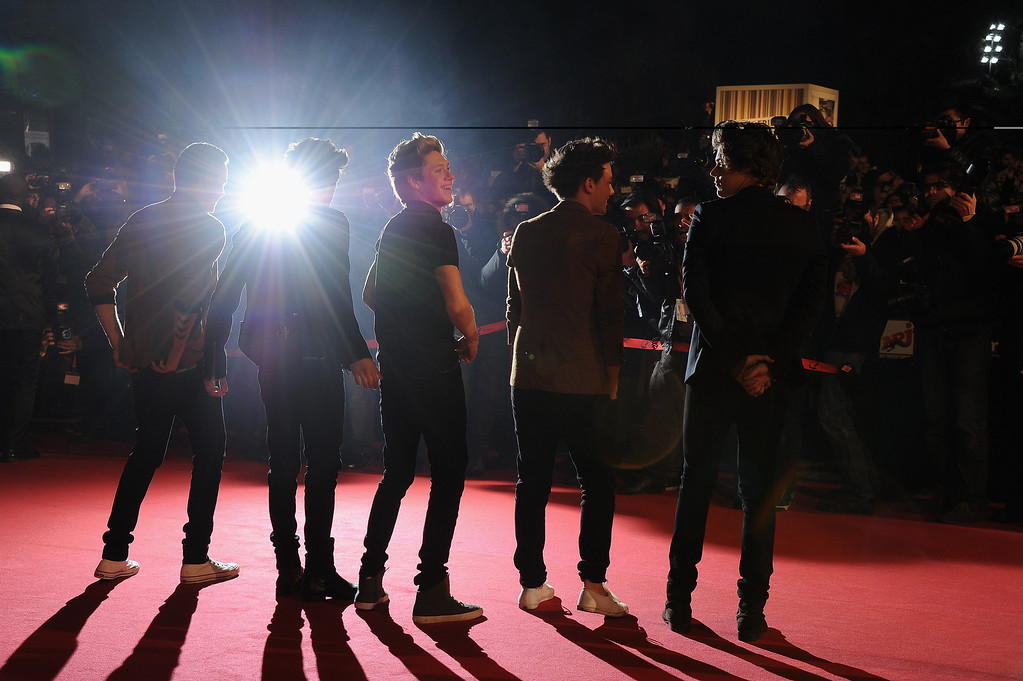 ". CANNES, FRANCE - JANUARY 26: Menbers of band ""One Direction\"" attend the NRJ Music Awards 2013 at Palais des Festivals on January 26, 2013 in Cannes, France.  (Photo by Pascal Le Segretain/Getty Images)"