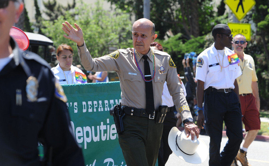 . Long Beach, Calif., -- 05-19-13- Sheriff Lee Baca at the 30th Annual Long Beach Gay and Lesbian Pride Parade along Ocean Boulevard Sunday. 
