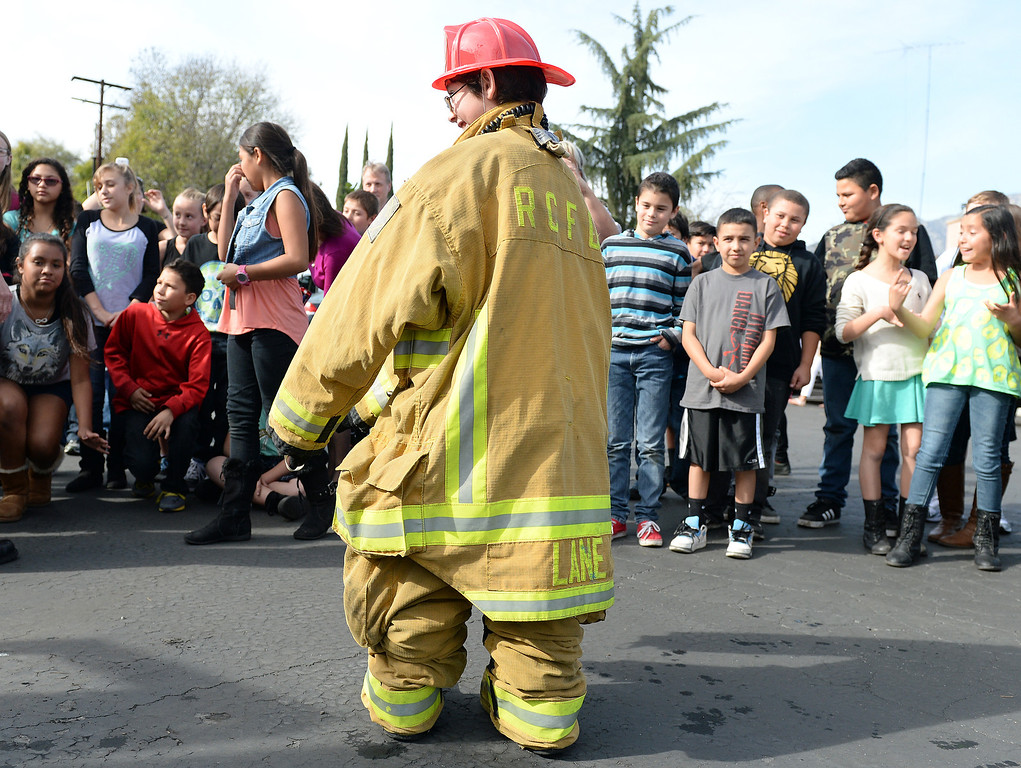 . Valle Vista Elementary School fifth grader Hayden Pestel, 10, was recognized as a hero Tuesday February 11, 2014 by the Rancho Cucamonga fire department. Pestel awoke his sleeping grandfather Thursday night after the laundry room in his home caught fire allowing them both to escape the fire without injury. Damage to the home was set at $230,000. (Will Lester/Inland Valley Daily Bulletin)