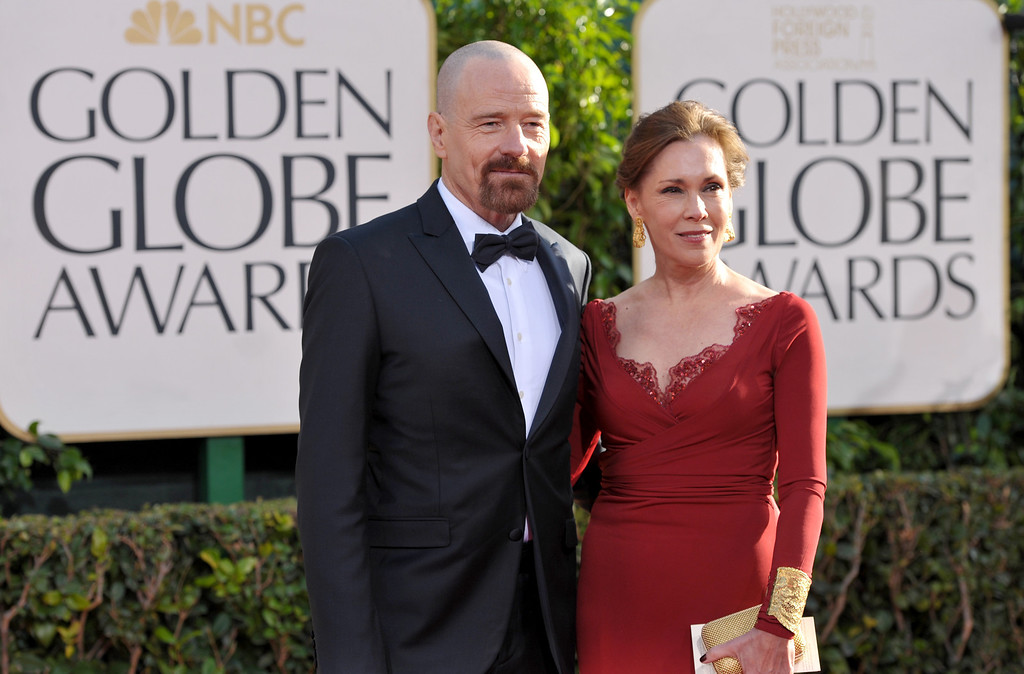 . Actors Bryan Cranston, left, and Robin Dearden arrive at the 70th Annual Golden Globe Awards at the Beverly Hilton Hotel on Sunday Jan. 13, 2013, in Beverly Hills, Calif. (Photo by John Shearer/Invision/AP)