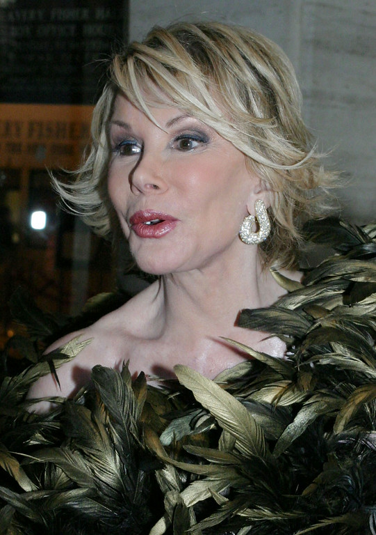 ". Joan Rivers poses for photographers as she arrives for the New York Philharmonic\'s performance of ""Candide\"" at Lincoln Center\'s Avery Fisher Hall in New York Thursday May 6, 2004.(AP Photo/Tina FIneberg)"
