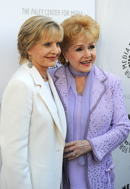 ". (L-R) Actressess Florence Henderson and Debbie Reynolds arrives at The Paley Center For Media\'s Reception For ""Debbie Reynolds: The Exhibit\"" on August 16, 2011 in Beverly Hills, California.  (Photo by Frazer Harrison/Getty Images)"