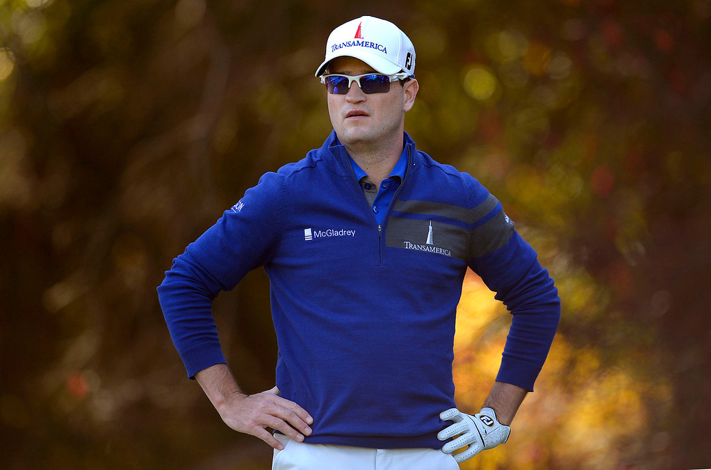 . First-round leader Zach Johnson looks on during the Tiger Woods\' Northwestern Mutual World Challenge at Sherwood Country Club in Thousand Oaks, CA Thursday December 5, 2013.(Andy Holzman/Los Angeles Daily News)