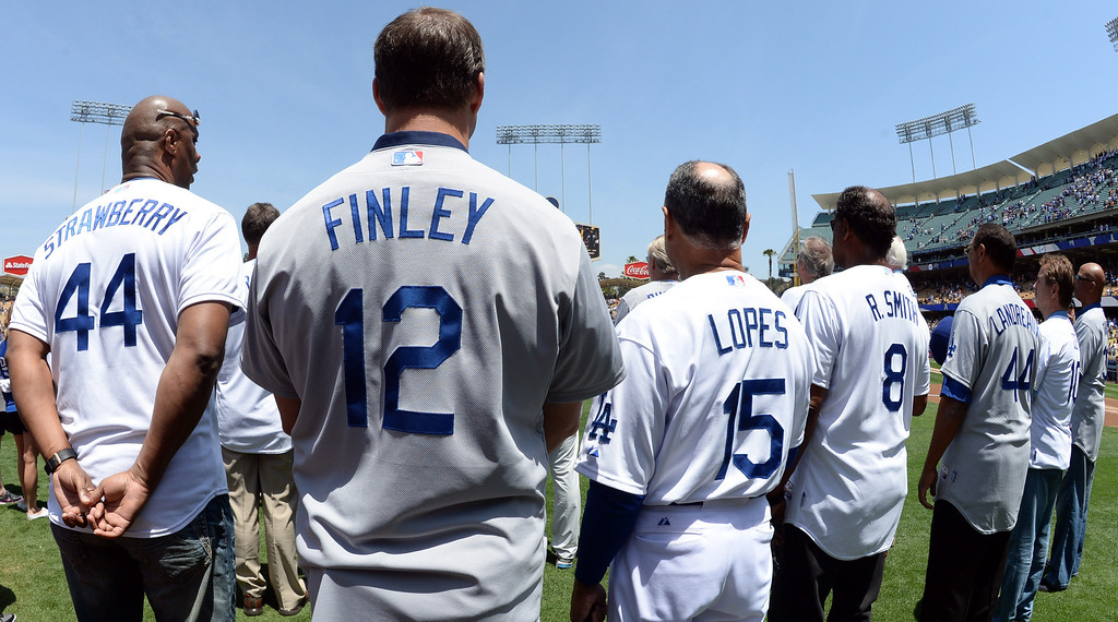 . Former Dodger greats Darryl Strawberry, left, with Steve Finley, Davey Lopes, Reggie Smith and Ken Landreaux prior to a Major league baseball game against the San Francisco Giants on Saturday, May 10, 2013 in Los Angeles.   (Keith Birmingham/Pasadena Star-News)
